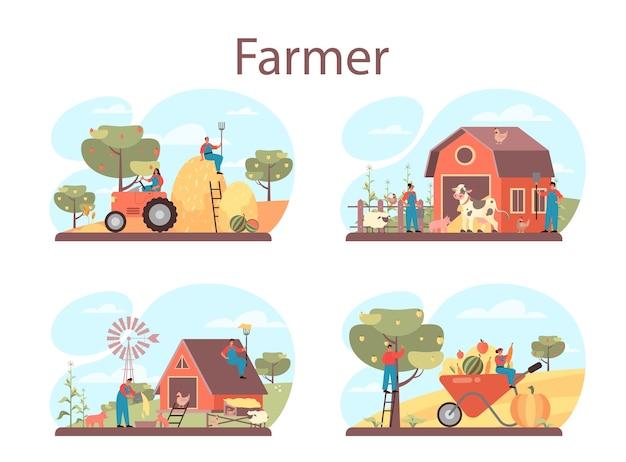 Ilustração do conjunto de conceitos de fazendeiro