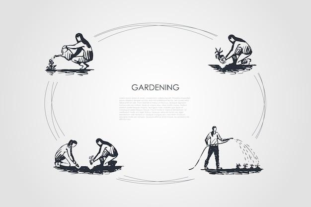 Ilustração do conjunto de conceitos de jardinagem