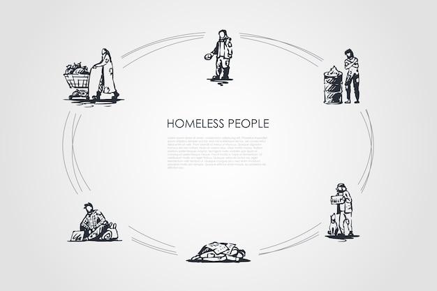 Ilustração do conjunto de conceitos de moradores de rua