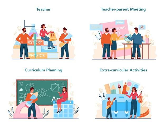 Ilustração do conjunto de conceitos de professor