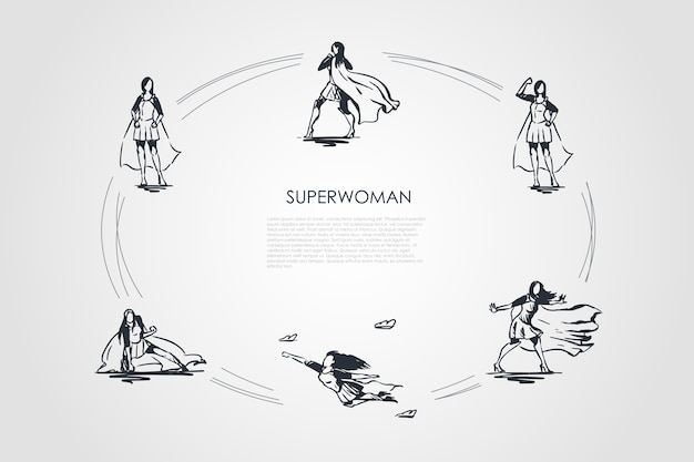 Ilustração do conjunto de conceitos de supermulher