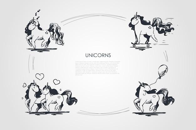 Ilustração do conjunto de conceitos de unicórnios