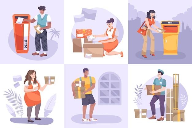 Ilustração do conjunto de correios