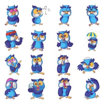 Ilustração do conjunto de coruja bonito