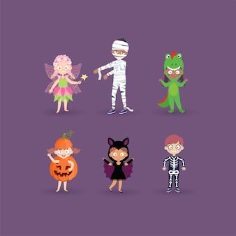 Ilustração do conjunto de crianças em trajes de halloween