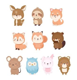 Ilustração do conjunto de desenhos animados de animais kawaii