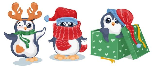 Ilustração do conjunto de desenhos animados de pinguins de natal
