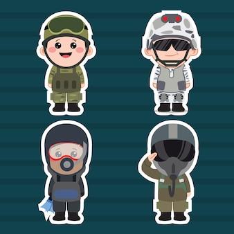 Ilustração do conjunto de desenhos animados do exército chibi
