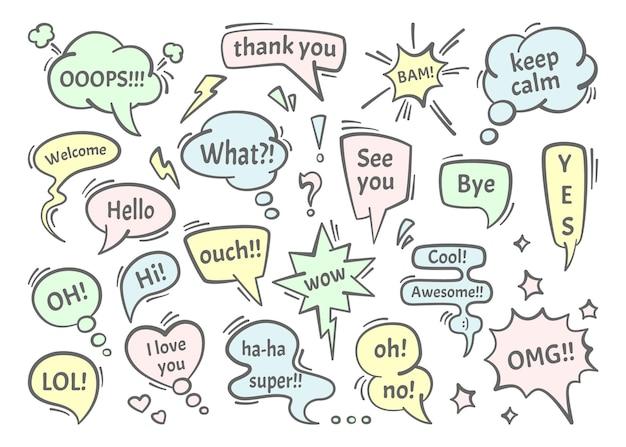 Ilustração do conjunto de diálogos de balões de fala