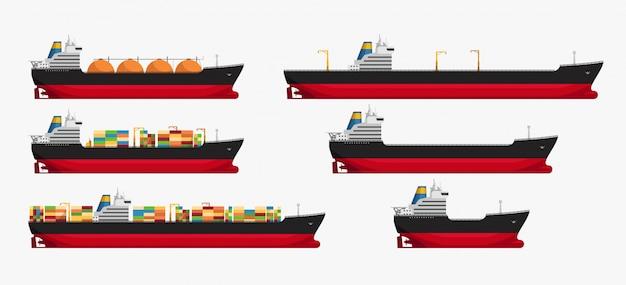 Ilustração do conjunto de diferentes petroleiros isolados de vários tipos cheios e vazios
