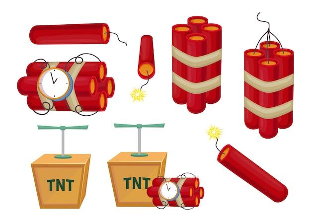 Ilustração do conjunto de dinamite colorido dos desenhos animados