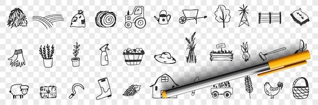 Ilustração do conjunto de doodle de ferramentas e equipamentos agrícolas