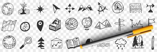 Ilustração do conjunto de doodle de ferramentas e equipamentos de navegação