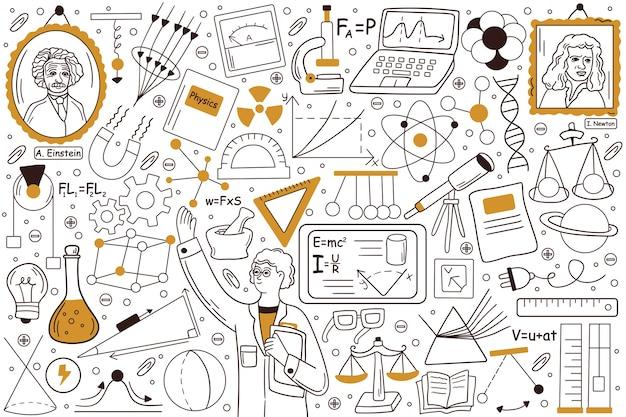 Ilustração do conjunto de doodle de física