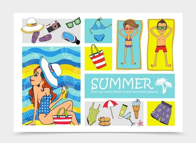 Ilustração do conjunto de elementos das férias de verão desenhada à mão
