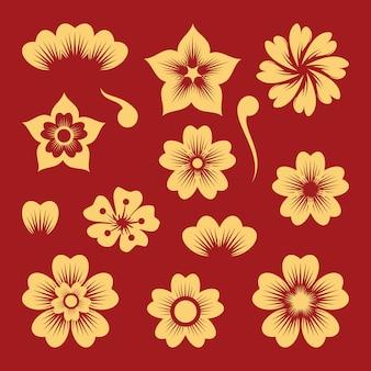 Ilustração do conjunto de elementos de flores chinesas