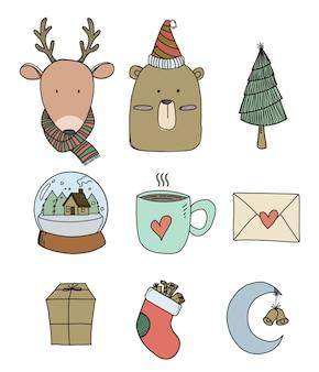 Ilustração do conjunto de elementos de natal desenhada à mão