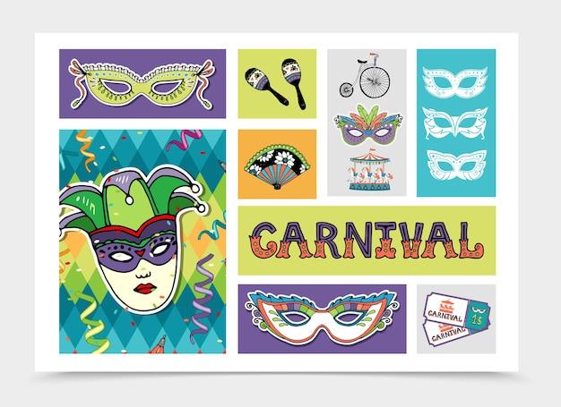 Ilustração do conjunto de elementos festivos de carnaval plano