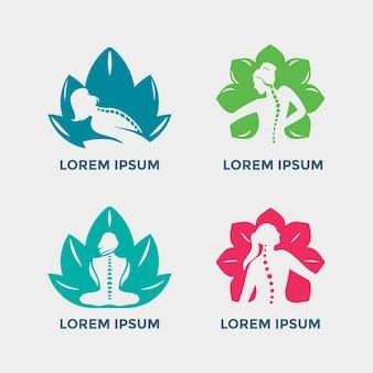 Ilustração do conjunto de emblemas de quiropraxia