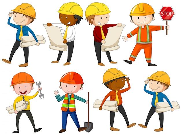 Ilustração do conjunto de engenheiros e trabalhadores da construção civil