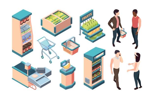 Ilustração do conjunto de equipamentos isométricos de supermercado