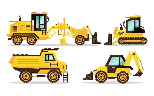 Ilustração do conjunto de escavadeira
