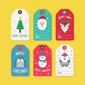 Ilustração do conjunto de etiquetas de natal