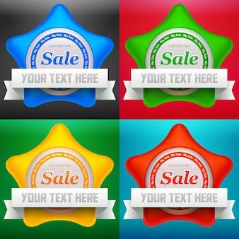 Ilustração do conjunto de etiquetas de venda estrela