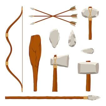 Ilustração do conjunto de ferramentas de caça antigas