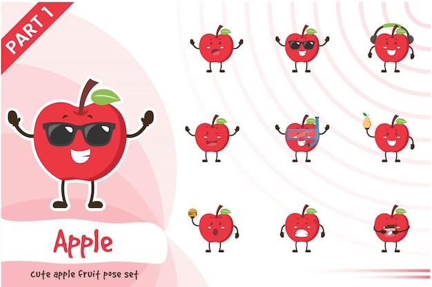 Ilustração do conjunto de frutas de maçã bonito