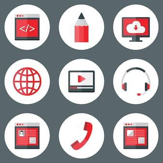 Ilustração do conjunto de ícones brancos e vermelhos do site