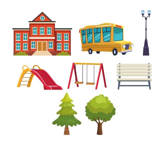Ilustração do conjunto de ícones da escola