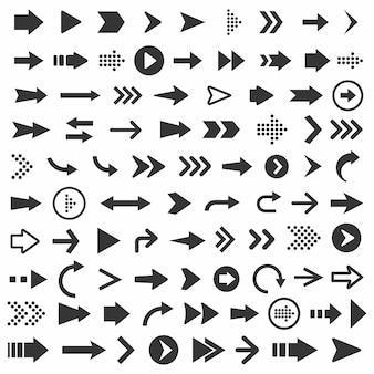 Ilustração do conjunto de ícones da seta