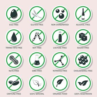Ilustração do conjunto de ícones de alérgenos alimentares