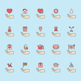 Ilustração do conjunto de ícones de apoio de doação