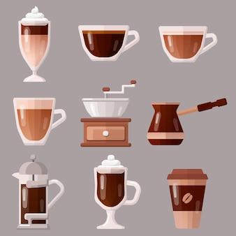 Ilustração do conjunto de ícones de café