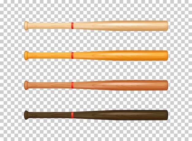 Ilustração do conjunto de ícones de taco de beisebol de madeira realista.