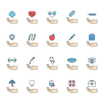 Ilustração do conjunto de ícones de vida saudável