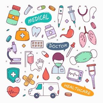 Ilustração do conjunto de ícones desenhados à mão de doodles médicos e de saúde