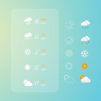Ilustração do conjunto de ícones do tempo web