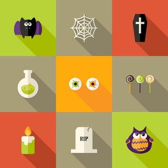 Ilustração do conjunto de ícones planos quadrados de halloween 1