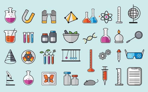 Ilustração do conjunto de instrumentos de laboratório de química