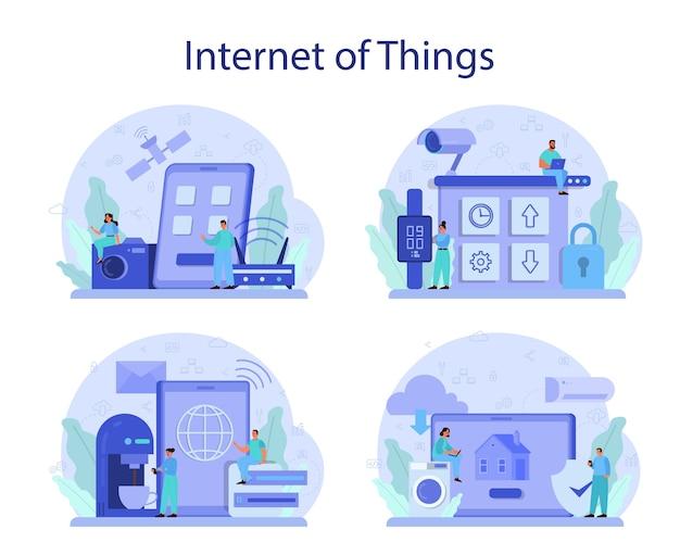 Ilustração do conjunto de internet das coisas