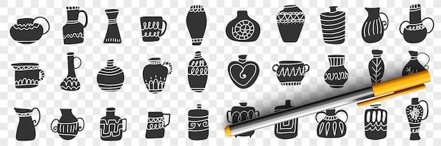 Ilustração do conjunto de jarros e recipientes