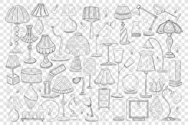 Ilustração do conjunto de lâmpadas e cortinas