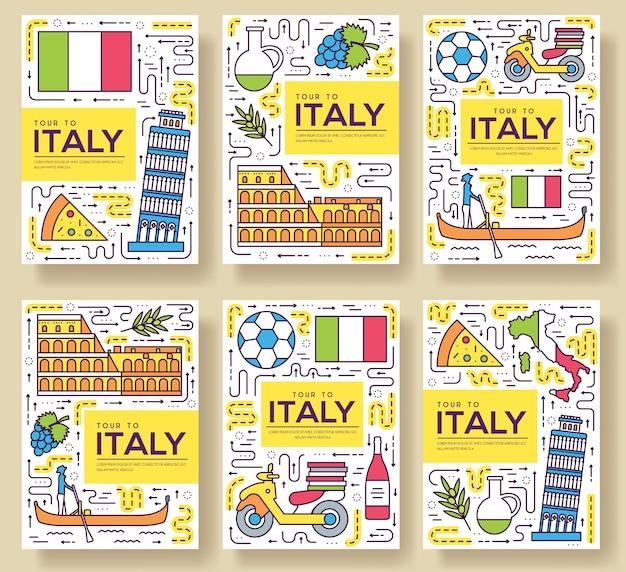 Ilustração do conjunto de linha fina de cartões da itália