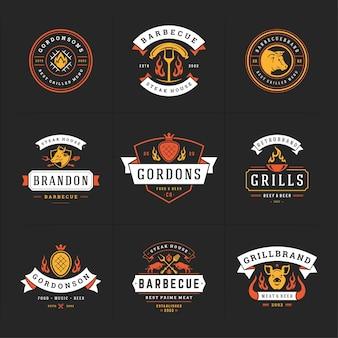 Ilustração do conjunto de logotipos grill e churrasco