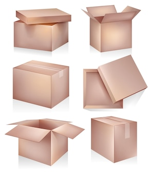Ilustração do conjunto de maquete de caixa de papelão