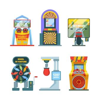 Ilustração do conjunto de máquinas de jogos de arcade