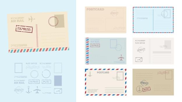 Ilustração do conjunto de modelos de cartão postal em envelope